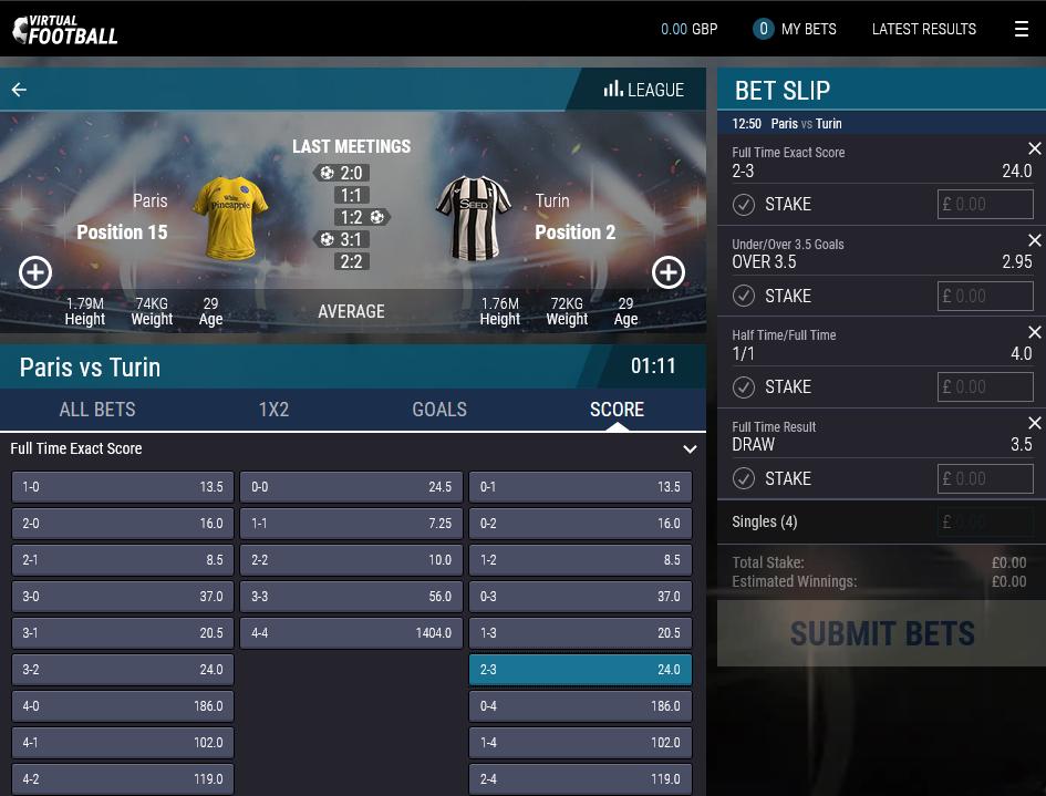 bet on Virtual Football